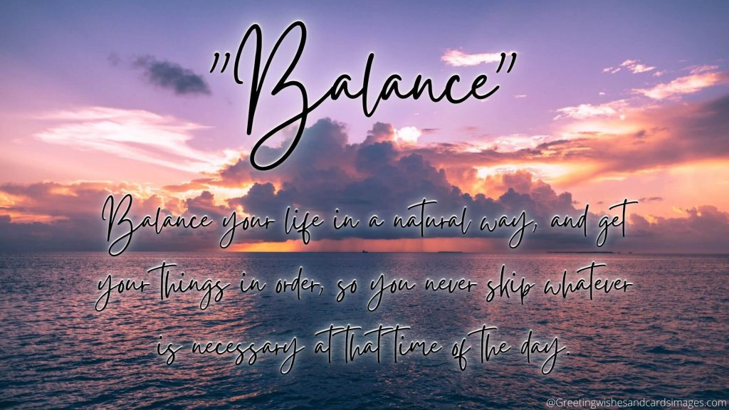 """Balance""  Word of the year"