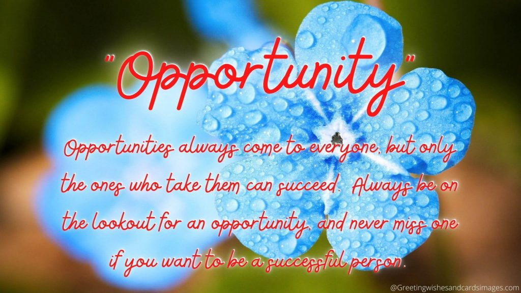 Opportunities always come to everyone